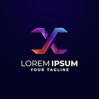 Gradient lettre x modèle de logo