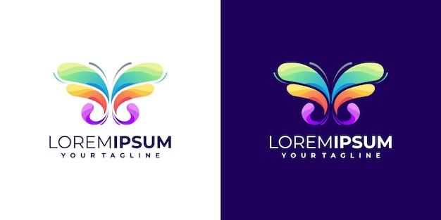 Gradient de logo papillon génial coloré