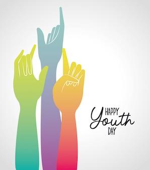 Gradient multicolore mains de bonne journée de la jeunesse