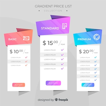 Gradient price list pack