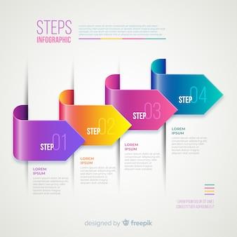 Gradient réaliste infographie étape colorée