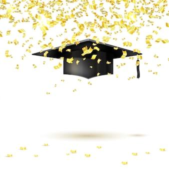 Graduate cap et confettis d'or. illustration vectorielle