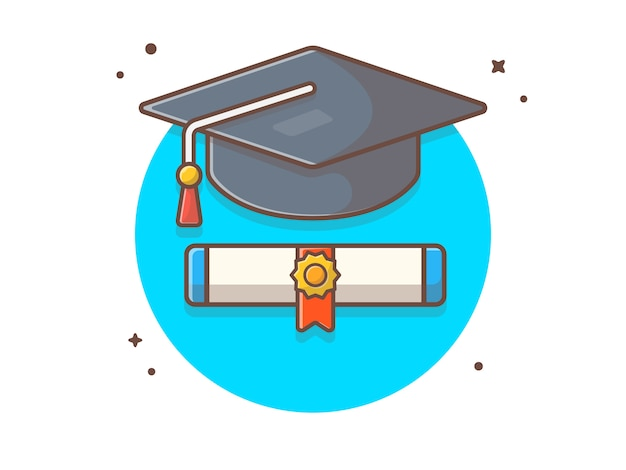 Graduate cap avec scholarship icon illustration