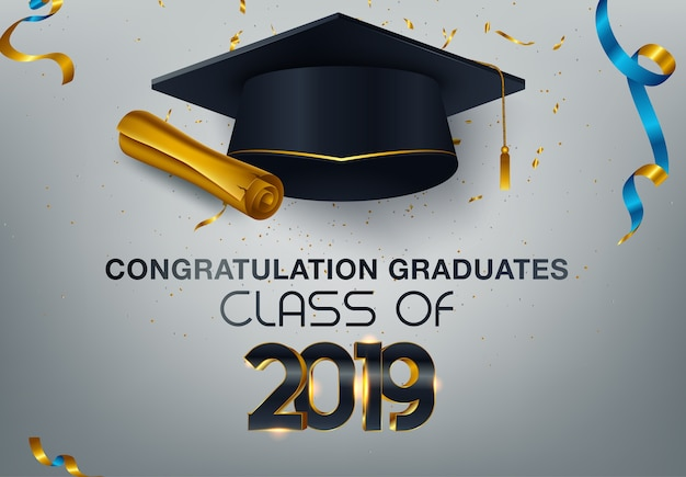Graduate caps et confettis sur fond blanc