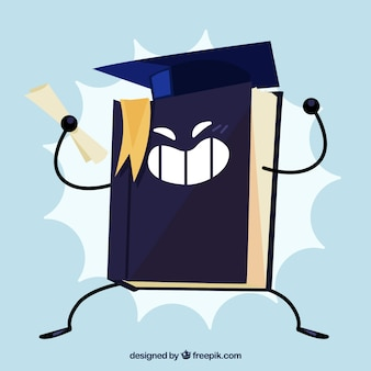 Graduation background of book with diplome and graduation cap