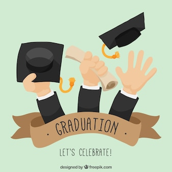 Graduation background of hands with diplome and graduation caps