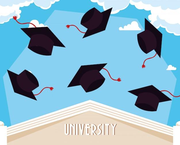 Graduation caps dans la cérémonie