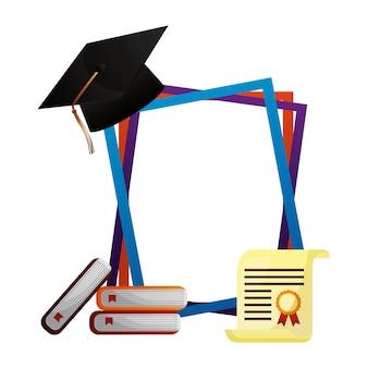 Graduation chapeau livres certificat cadres vector illustration