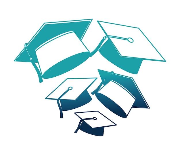 Graduation chapeaux isolé icône design illustration vectorielle