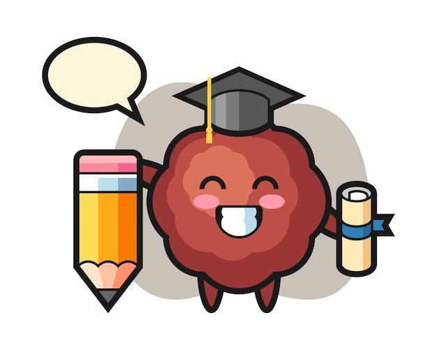 Graduation de dessin animé de boulettes de viande avec un crayon géant