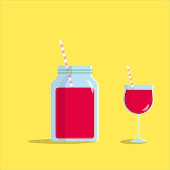Graffin en gros plan et verre avec du jus de fraise frais et de la paille avec des ombres et des reflets
