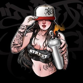 Graffiti jeune fille tenant une peinture en aérosol