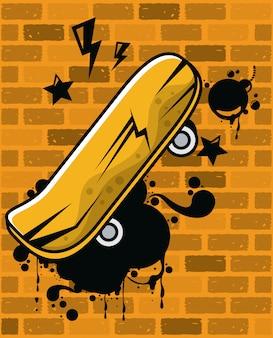 Graffiti de style urbain avec planche à roulettes