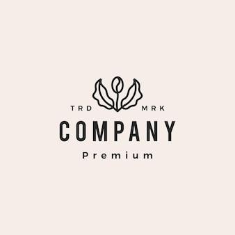 Grain De Café Arbre Feuille Sprout Hipster Logo Vintage Icône Illustration Vectorielle Vecteur Premium