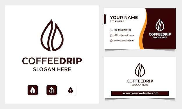 Grain de café avec création de logo de concept de goutte d'eau, modèle de carte de visite