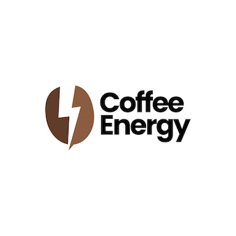 Grain de café foudre thunder bolt energy logo vector icon illustration