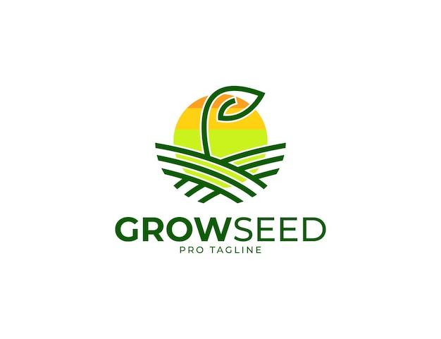 Graine en croissance avec illustration du logo de la feuille
