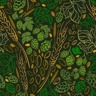 Graines de blé houblon imprimé doodle modèle sans couture ingrédient de la bière illustration vintage dessinée à la main