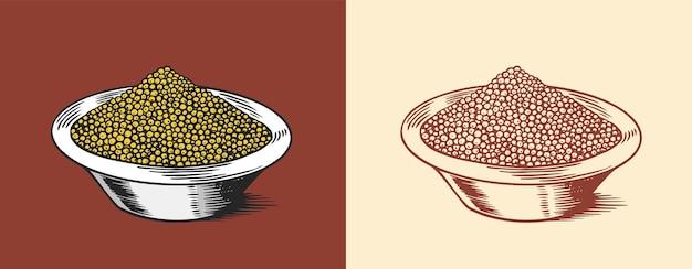 Graines de moutarde ou trempette de condiments épicés ou sauce à trempette