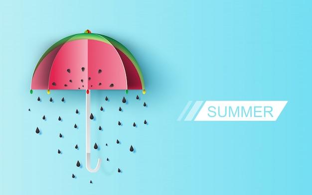 Graines de pluie de melon d'eau sur fond bleu.