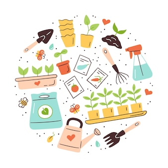 Graines et semis. germination des pousses. outils, pots et terre pour la plantation. ensemble d'illustration vectorielle isolé sur fond blanc