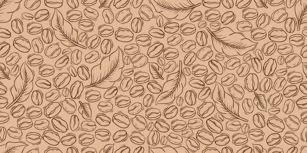 Grains de café décoratifs et feuilles modèle sans couture. convient pour le papier d'emballage.