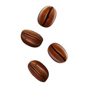 Grains de café isolés sur fond blanc. illustration 3d vectorielle réaliste