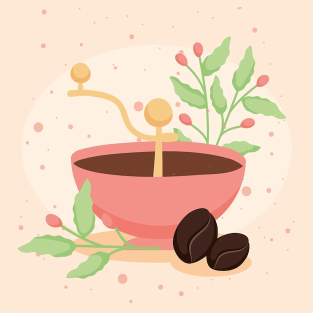 Grains de café avec moulin