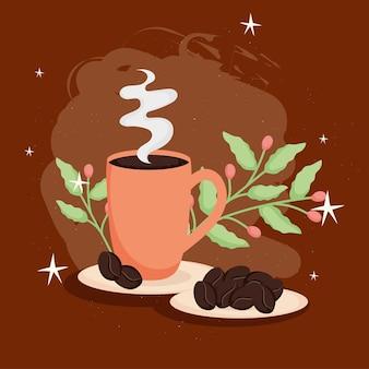Grains de café avec tasse