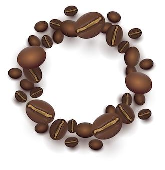 Grains de café torréfiés cadre rond