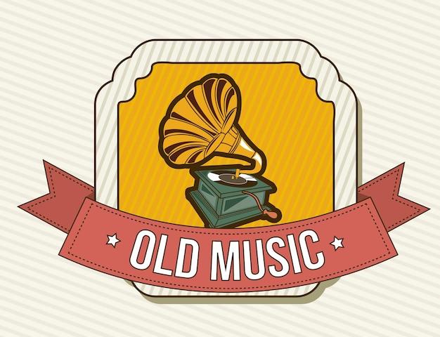 Gramophone au cours de l'illustration vectorielle fond vintage