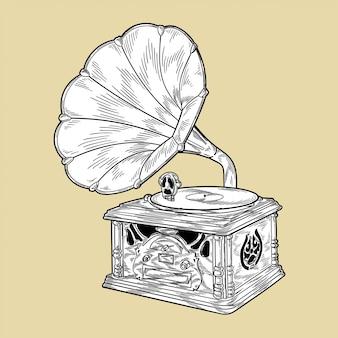Gramophone, illustration vectorielle monochrome
