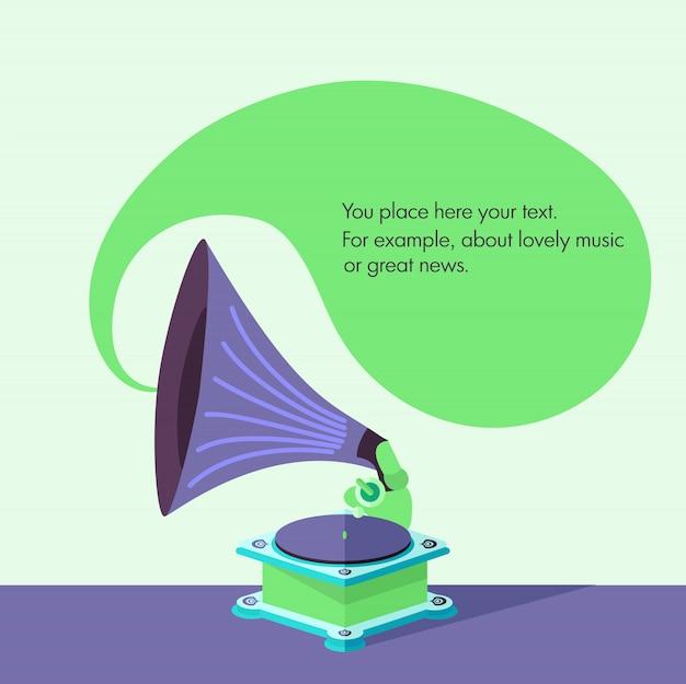 Gramophone vieux plat lumineux de vecteur