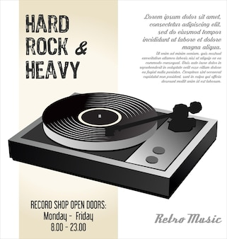 Gramophone vinyle lp record illustration fond