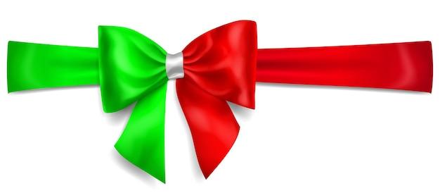 Grand arc fait de ruban dans les couleurs du drapeau italien avec ombre sur fond blanc