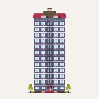 Grand bâtiment de ville avec de nombreux étages construit dans un style architectural moderne. maison de vie à plusieurs étages isolée