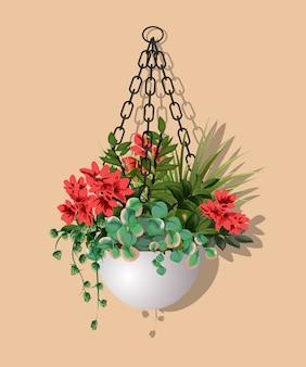 Grand beau buisson de différentes plantes avec des fleurs rouges suspendues dans un pot de fleur isolé sur fond chaud.
