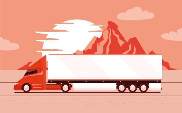 Grand camion électrique moderne avec remorque avec paysage de montagne.