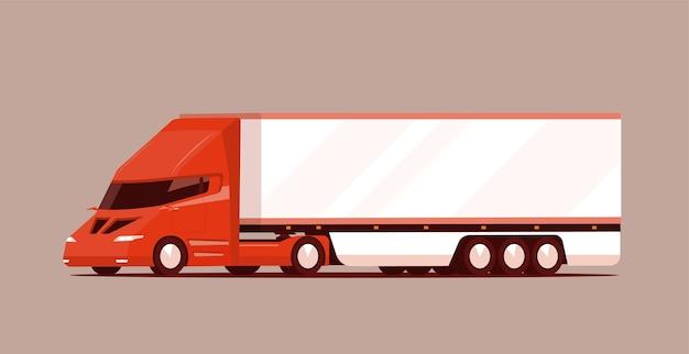 Grand camion électrique moderne avec remorque.