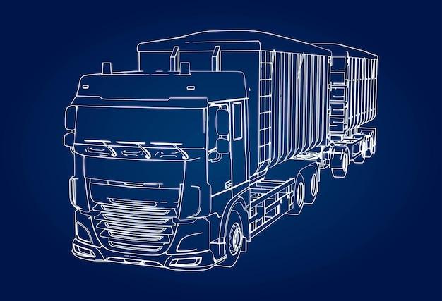Grand camion avec remorque séparée, pour le transport de matériaux en vrac agricoles et de construction