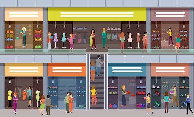 Grand centre commercial. boutiques de mode. les gens achètent des vêtements et des chaussures