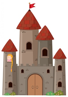 Grand château avec princesse