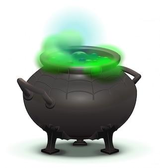 Grand chaudron noir cuire la potion magique verte