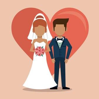 Avec un grand coeur et un couple sans visage de juste marié