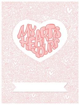 Grand coeur avec lettrage