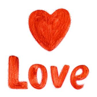 Grand coeur rouge et texte love. éléments de conception abstraite