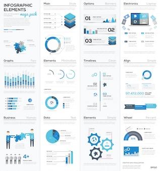 Grand collège d'éléments vectoriels d'infographies bleues