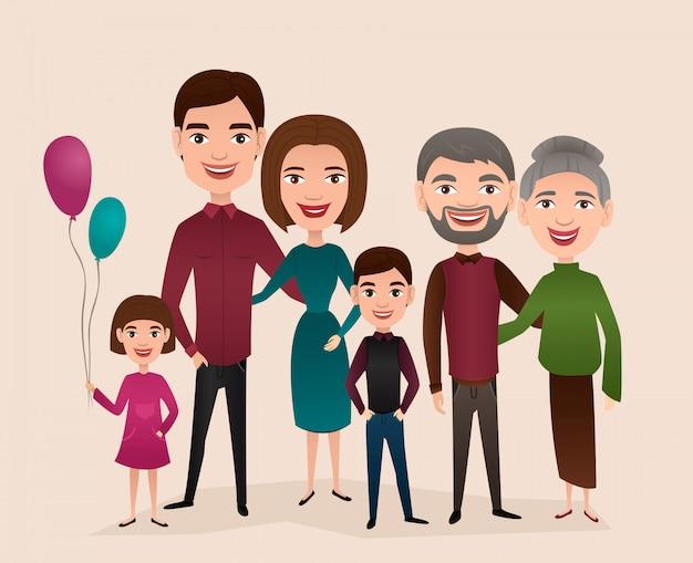 Grand concept de dessin animé de famille heureuse