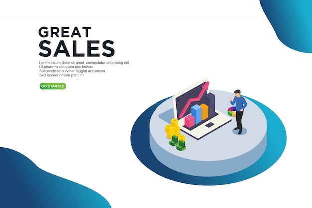Grand concept isométrique de vente