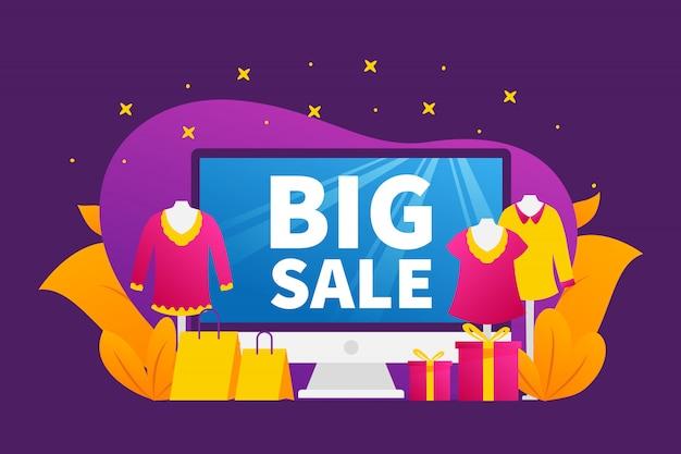 Grand concept de vente avec écran de bureau d'ordinateur et divers articles de mode avec fond violet vif